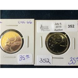 25 cents 1991 and 1992 from Uncirculated sets. Lot of 2 coins.