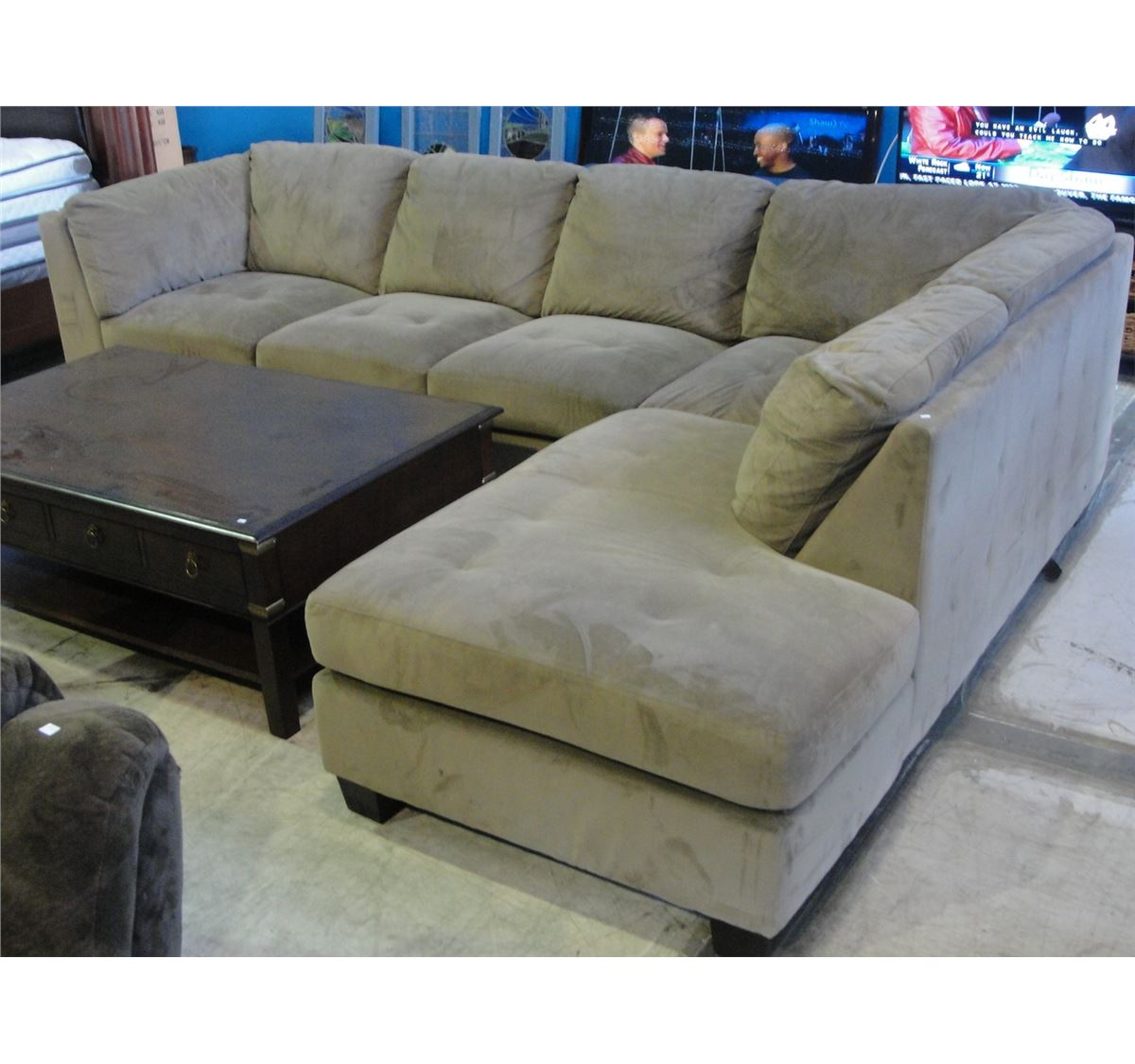 2pc micro fiber suede upholstered sectional sofa moss for Moss green sectional sofa