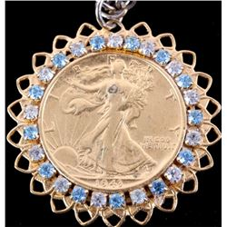 Liberty Silver Half Dollar 1943 Gold Gem Necklace