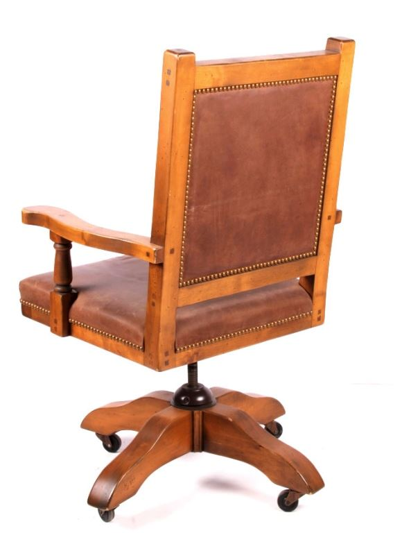 rustic wood leather office swivel chair. Black Bedroom Furniture Sets. Home Design Ideas