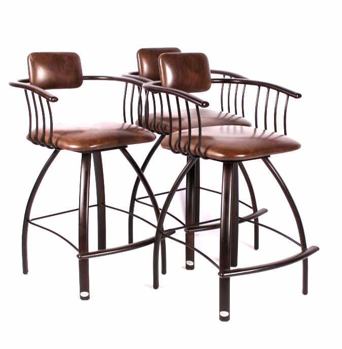 Gibo Creations Leather Amp Metal Bar Stool Set Of 3