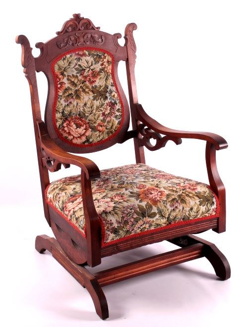 Image 1 : Antique Upholstered Rocking Chair ... - Antique Upholstered Rocking Chair