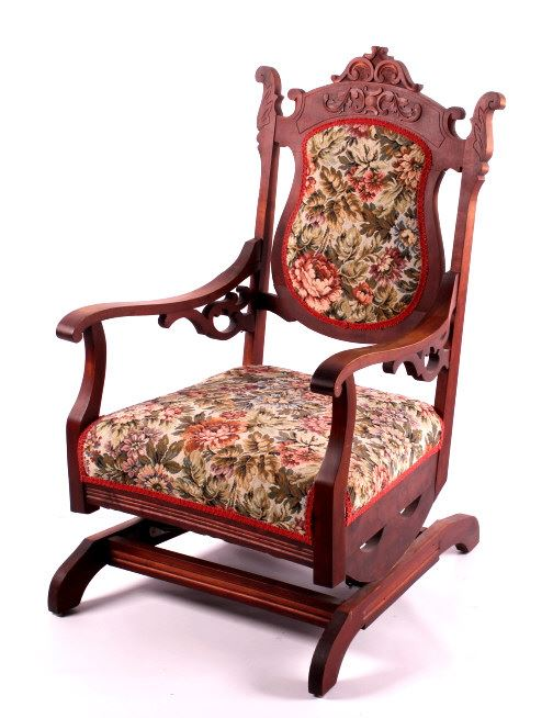 ... Image 2 : Antique Upholstered Rocking Chair ... - Antique Upholstered Rocking Chair