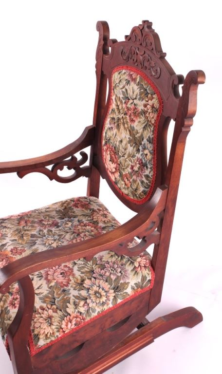 ... Image 7 : Antique Upholstered Rocking Chair - Antique Upholstered Rocking Chair