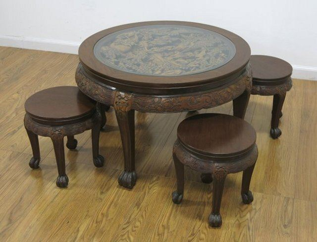 Round Carved Figural Chinese Coffee Table