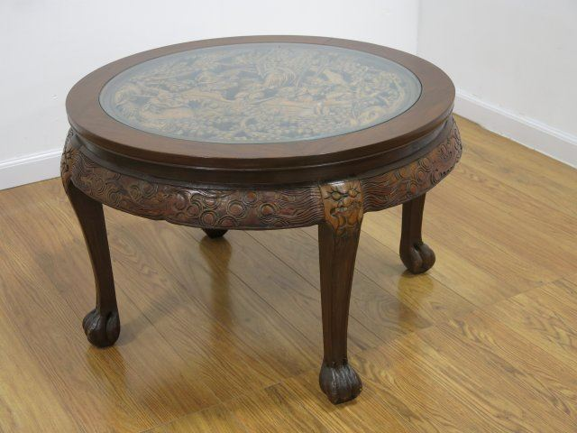 Image 3 Round Carved Figural Chinese Coffee Table