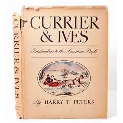 """1942 """"CURRIER AND IVES PRINTS"""" HARDCOVER BOOK - OVERSIZED"""