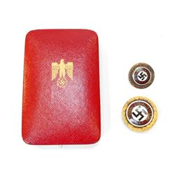 CASED GERMAN PAIR OF GOLDEN NSDAP PARTY HONOR BADGES