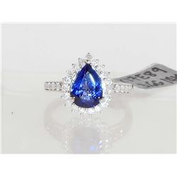 14KT WHITE GOLD LADIES TANZANITE AND DIAMOND RING - SIZE 7