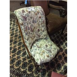 QUEEN ANNE CHAIR ON CASTERS