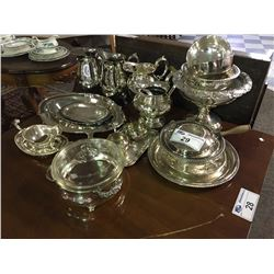 LARGE LOT OF SILVER PLATED SERVING JUGS & PLATTERS