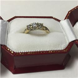 LADIES 10KT YELLOW GOLD TRINITY DESIGN PAST, PRESENT AND FUTURE DIAMOND SET ENGAGEMENT OR DRESS