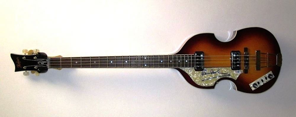 Image 1 Paul McCartney Signed Left Handed Hofner Beatle Bass Guitar Caiazzo LOA