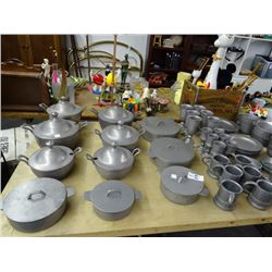 Table Lot Metal Cookware & Serviceware
