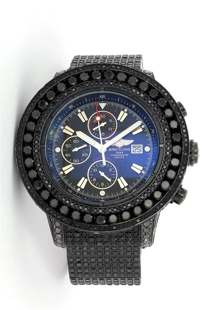 breitling black pvd 1500ctw black diamond super avenger