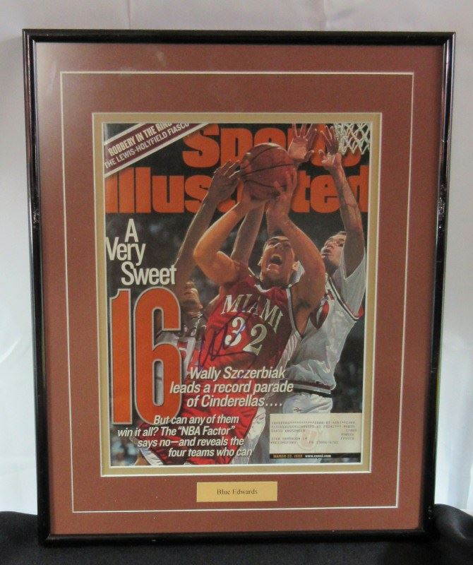 image 1 blue edwards autographed sports illustrated matted framed 12x15 frame