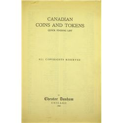 Scarce & Mysterious Dunham Quick Finding List for Canadian Tokens