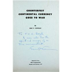 Newman on Counterfeit Continentals, Inscribed to F.C.C. Boyd