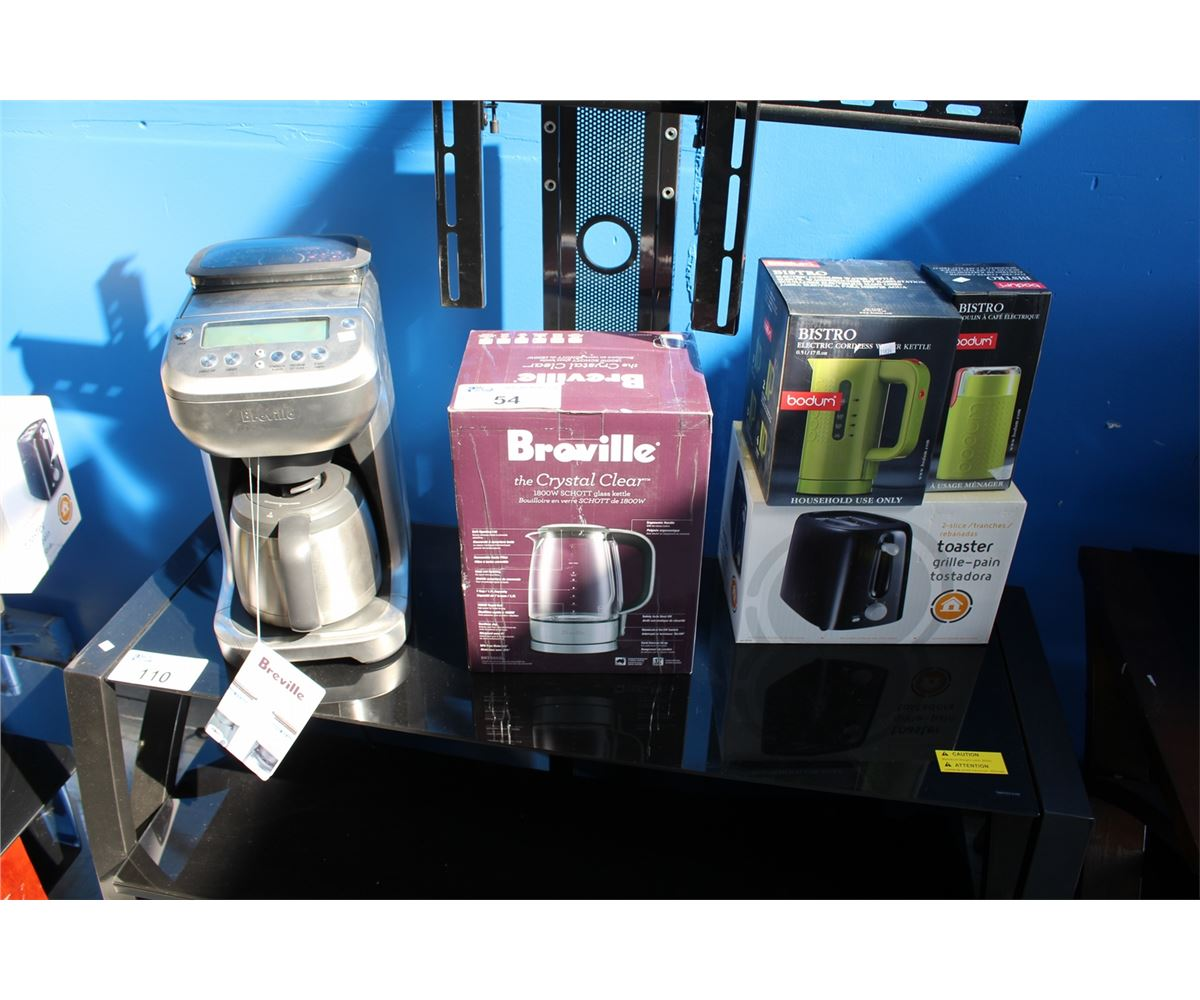 BREVILLE YOU BREW COFFEE MAKER WITH BUILT IN GRINDER, CRYSTAL CLEAR GLASS KETTLE, BISTRO BY ...