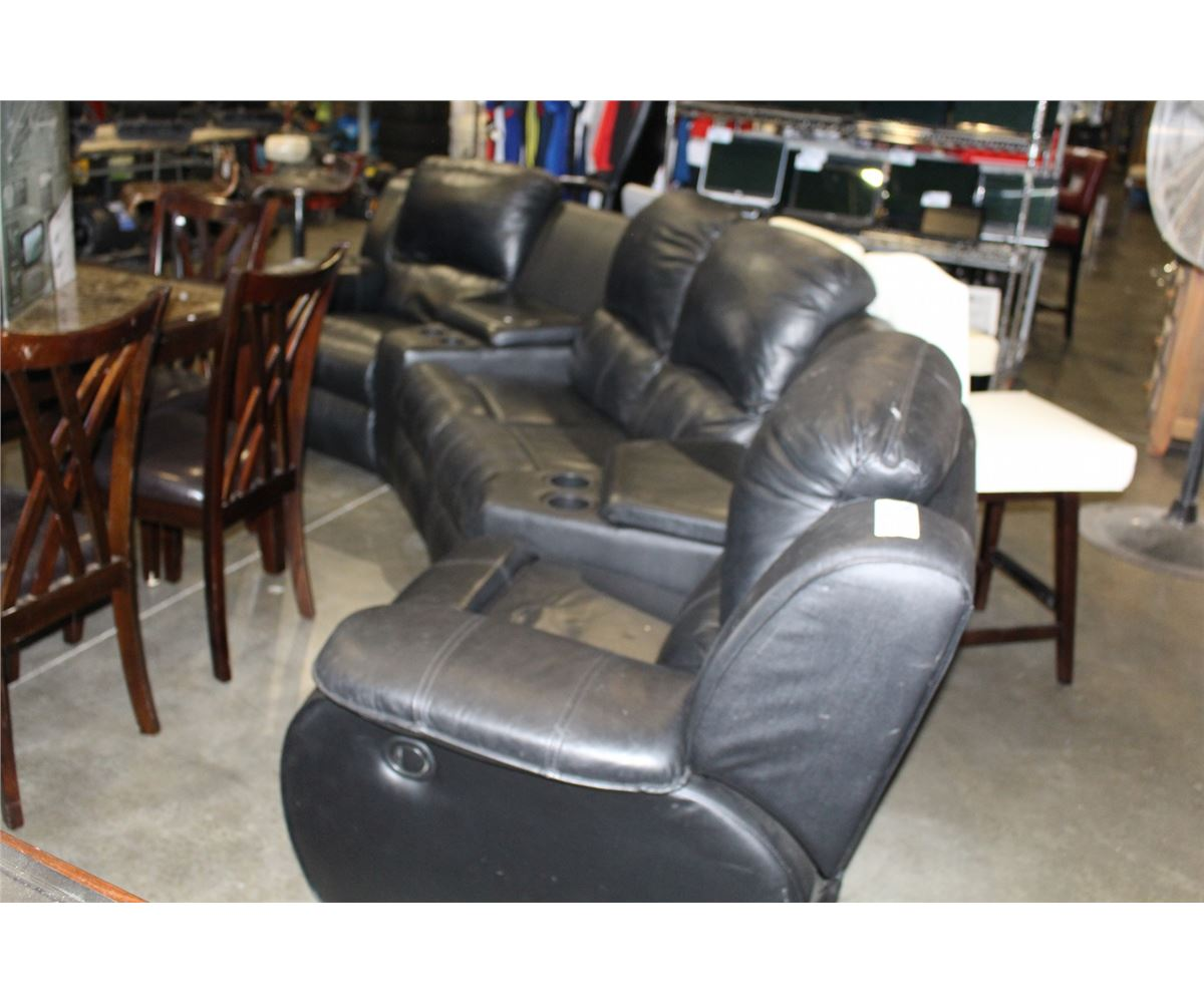 5PC BLACK LEATHER RECLINING SECTIONAL SOFA WITH DRINK