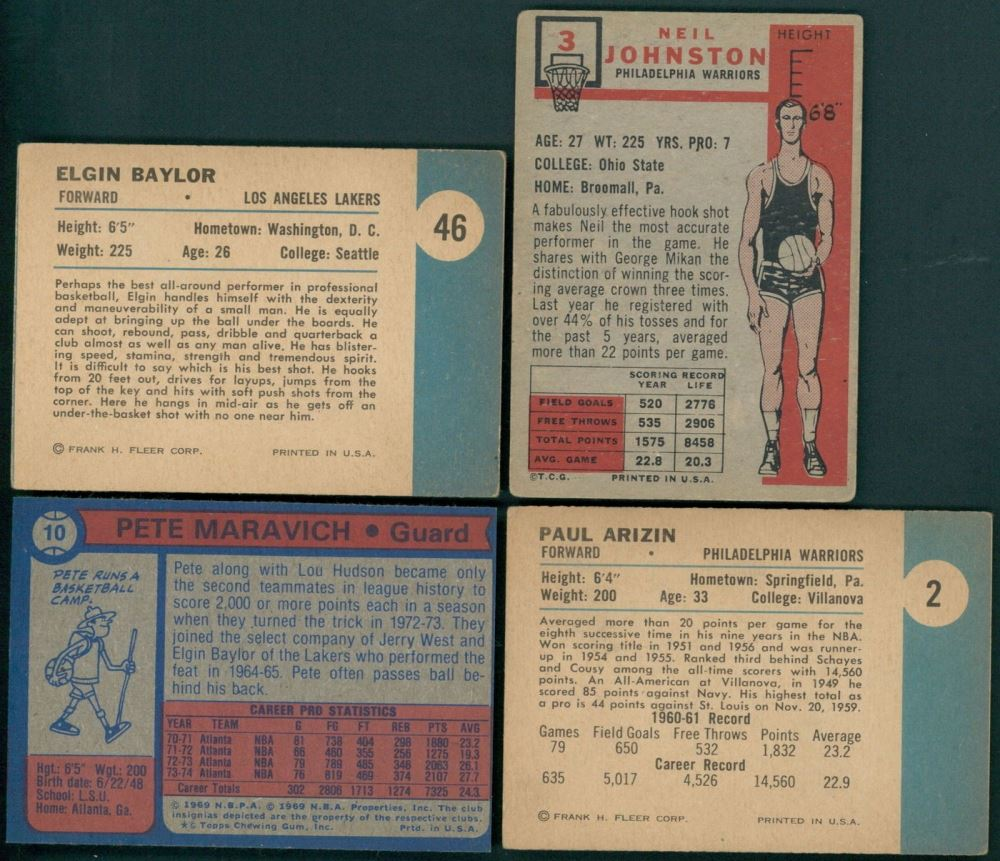 Lot of 4 Basketball Cards With 1961 62 Fleer 2 Paul Arizin