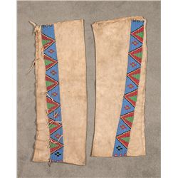 "Blackfeet Beaded Man's Leggings, 28"" x 3"""