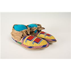 "Blackfeet Beaded Man's Moccasins, 10 ½"" long"