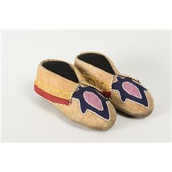 "Delaware Beaded Woman's Moccasins, 8"" long"