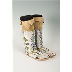 "Sioux Fully Beaded Woman's Hightop Moccasins, 13 ½"" tall"