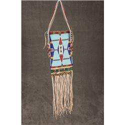 "Crow Fully Beaded Mirror Bag, 27"" long"