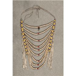 "Crow Beaded Heishi Loop Necklace, 14"" x 11"""