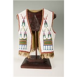 "Sioux Fully Beaded Man's Vest, 19"" tall"