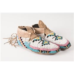 "Blackfeet Man's Beaded Moccasins, 10"" long"
