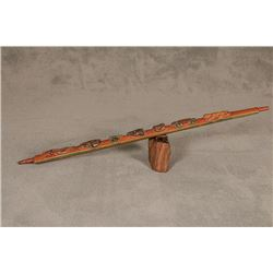 "Northern Plains Carved Pipe Stem, 37"" long"