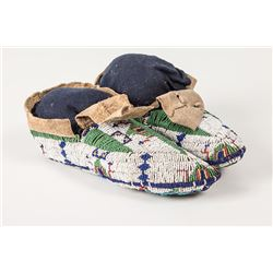 "Sioux Beaded Woman's Ceremonial Moccasins, 9"" long"