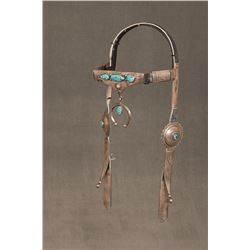 "Navajo Sterling Silver and Turquoise Headstall, 22"" long"