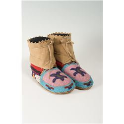 "Eastern Indian Beaded Woman's Moccasins, 9 ½"" long"