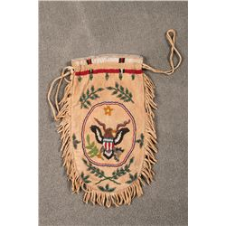 "Santee Sioux Beaded Pictorial Bag, 11"" long x 6"""