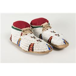 "Cheyenne Beaded Man's Moccasins, 10 ½"" long"
