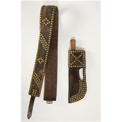 Crow Tacked Knife Sheath and Matching Belt