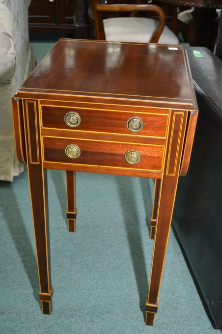 Image 1 : Semi Contemporary Antique Style Inlaid Two Drawer Drop Leaf Side  Table