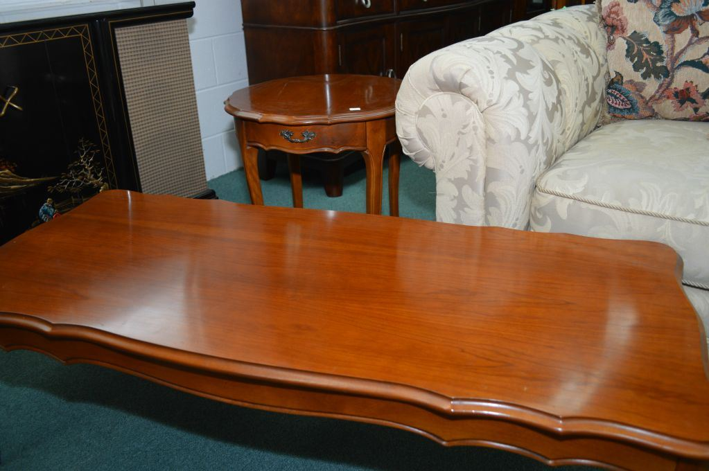 Image 1 Walnut French Provincial Coffee Table And Single Drawer End