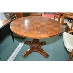 40 Round Oak Center Pedestal Coffee Table With Parquet Top And Adjustable Height For Dining