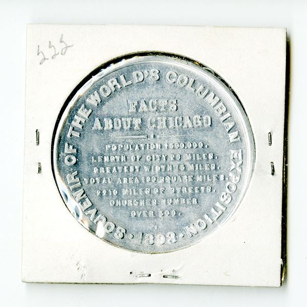 Columbian Exposition, Chicago, 1893. 39mm Aluminum medal featuring Landing of Columbus and facts abo