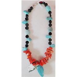 Turquoise and  Coral with Sterling Silver Clasp Necklace