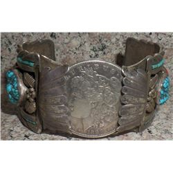 Sterling silver with coral and turquoise watch bracelet and Silver Dollar