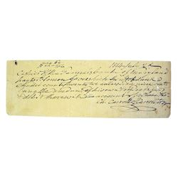 Check Signed by Declaration of Independence Signer Carroll of Carrollton