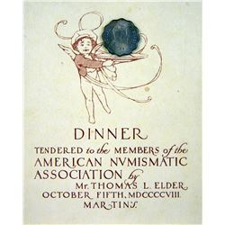 Invitation to Tom Elder's 1908 ANA Dinner, Featuring Indian One Anna Piece