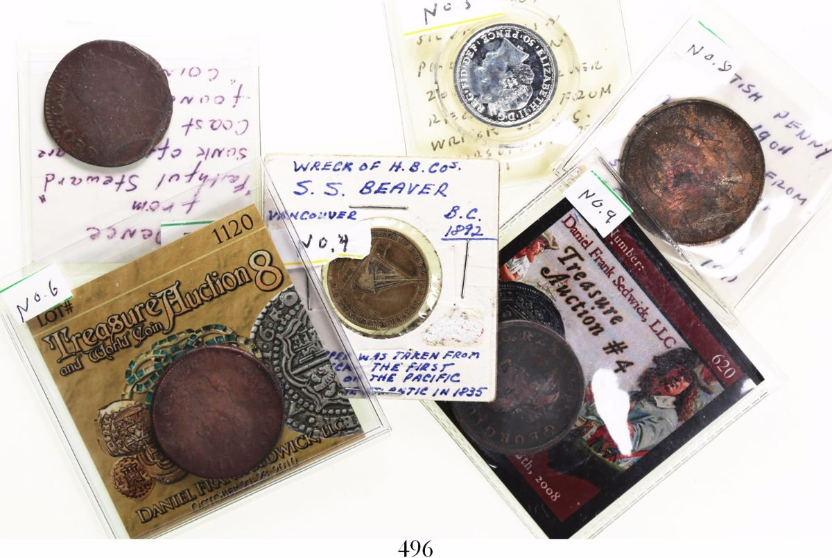 Lot Of 6 British Wreck Numismatic Items As Follows
