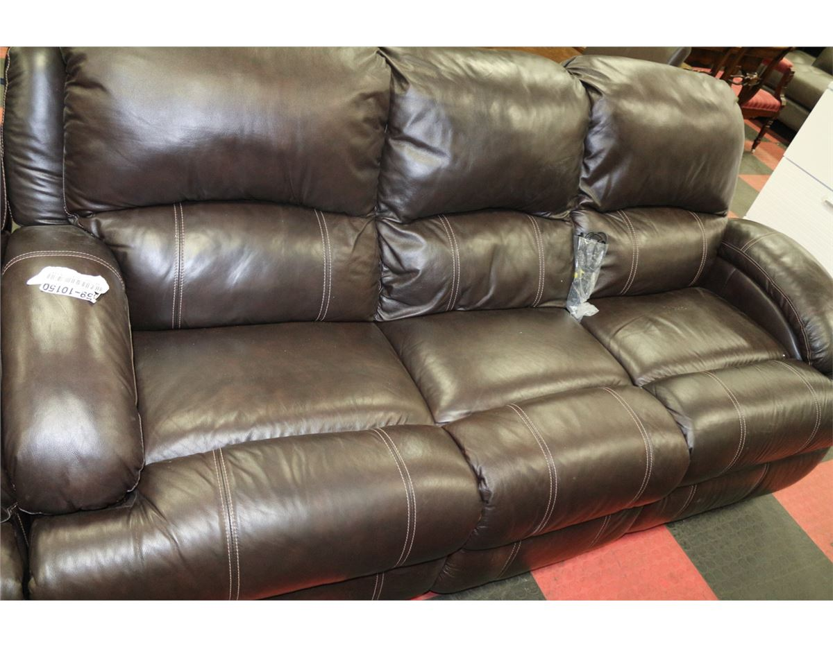 Brown Leather Electric Reclining 7ft Sofa With
